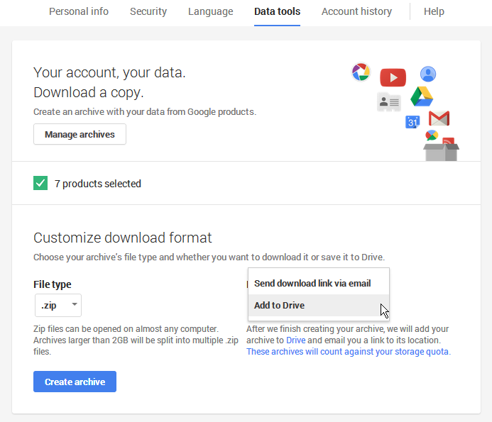Gmail export with Google Apps using Google Takeout